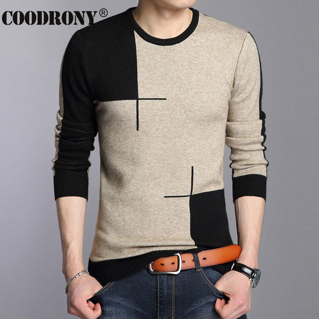 COODRONY 2017 Winter New Arrivals Thick Warm Sweaters O-Neck Wool Sweater Men Brand-Clothing Knitted Cashmere Pullover Men 66203