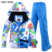 GSOU SNOW New South Korea Outdoor Waterproof Windproof Thick Warm Cotton Mens Suit Ski Snowboard Clothing Men's Double Plate
