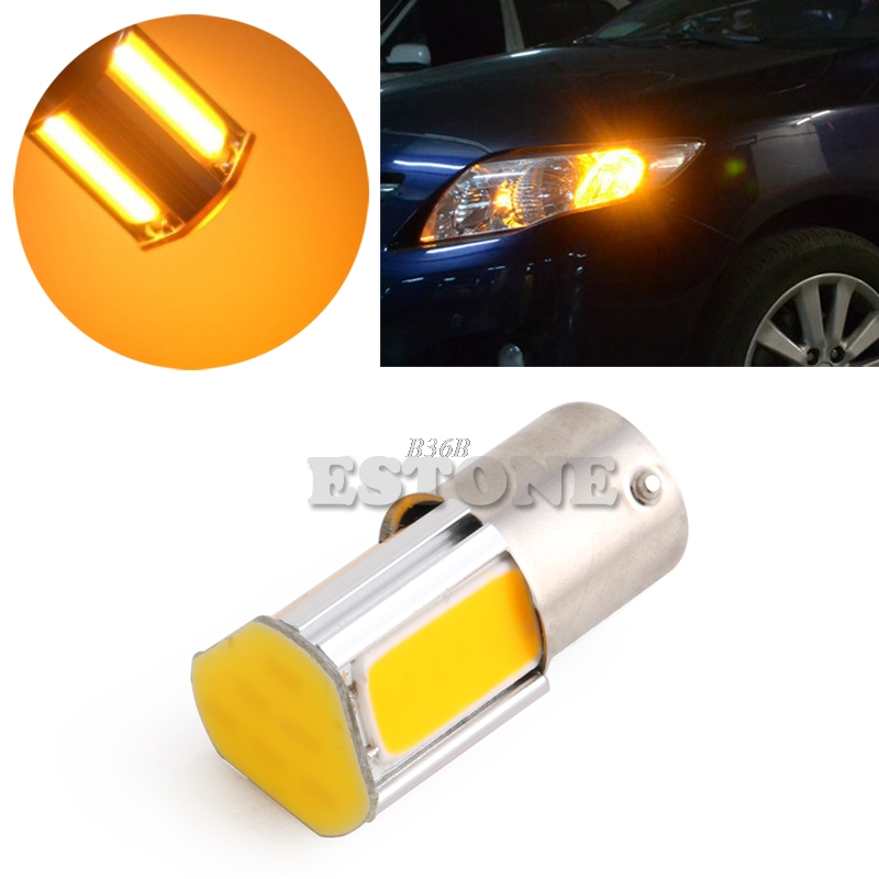 1 x Yellow/Amber 1156 4 COB LED Turn Signal Rear Light Car Bulb Lamp 12V