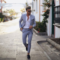 Blue man suit for business linen custom slim fit wedding male man classic jacket blazer hombre tuxedos smart casual for wedding