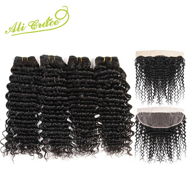 Ali Grace Hair Malaysia Deep Wave 4 Bundles With Frontal Remy Human Hair With 13*4 Free Middle Part Ear To Ear Lace Frontal