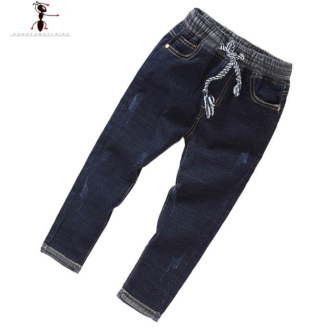 Muchachos de los Pantalones Vaqueros de Invierno Fresco de Alta Calidad Niños Niños Pantalones Casuales Elástico en La Cintura 2401