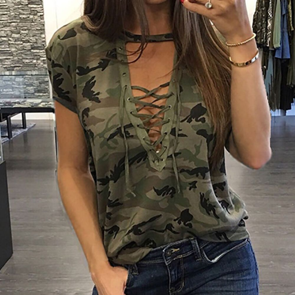 2019 New Design Women Ladies Summer Loose Tops Camouflage Print Short Sleeve Hollow Out S-XL Size Casual Fashion Clothes