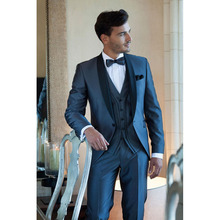 Hot Sale Custom Made Shawl lapel One button blue Groom men suit Tuxedo Wedding Party Groomsman mens Suits ( jacket+Pants+vest)