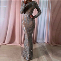 Silver Sequined O Neck Maxi Dresses Full Sleeved Bodycon Glitered Party Dress Hollow Out Elegant Evening