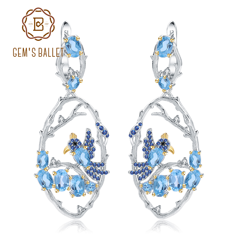 GEM S BALLET 7 13Ct Natural Swiss Blue Topaz Earrings Fine Jewelry 925 Sterling Silver Handmade