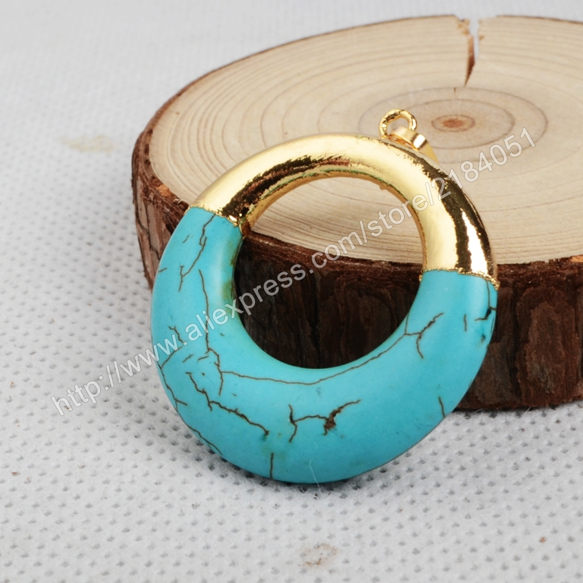 Round Circle Blue Turquoise Gold Plated Necklace Pendant Beads Jewelry G0799