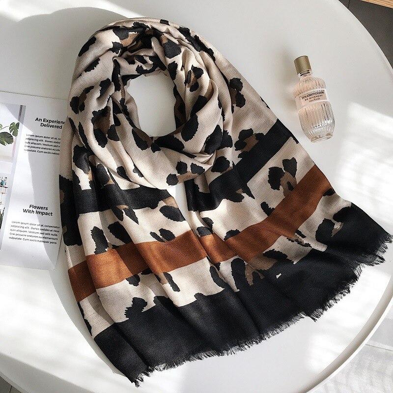 Sexy Leopard Printed Viscose Shawl Scarf Women Trendy Autumn Winter Blanket Scarfs Luxury Brand Wrap Pashmina Stole Muslim Hijab