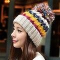 Новый Корейский ручной вязаная шапка теплая шерсть Зимняя Шапка женская симпатичные цвет Толщиной снежная шапка дамской одежды шляпа