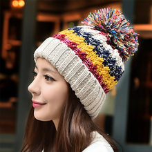 New Korean hand knitted hat warm wool Winter Hat female cute color Millinery snow cap women fashion hat
