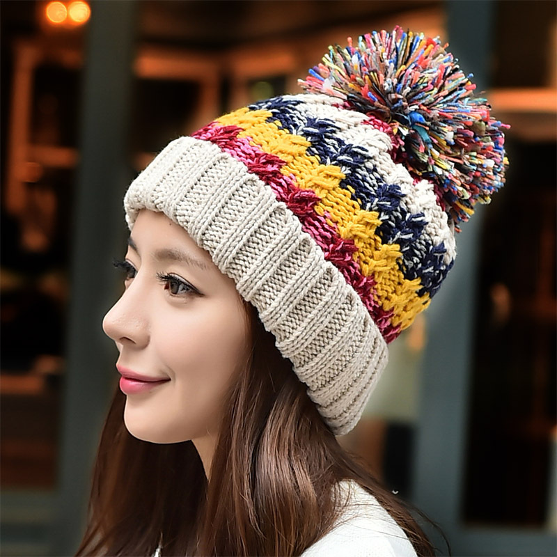 New Korean hand knitted hat warm wool Winter Hat female cute color Millinery snow cap women fashion hat winter hat direct selling man and woman 2017 new fashion warm wool knitted hat korean style winter skullies
