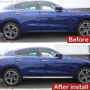 Image 4 - רכב סטיילינג ABS Chrome רכב גוף צד דלת קישוט רצועות לקצץ עבור מזראטי Levante 2016 מדבקות אביזרים חיצוניים 6pcs