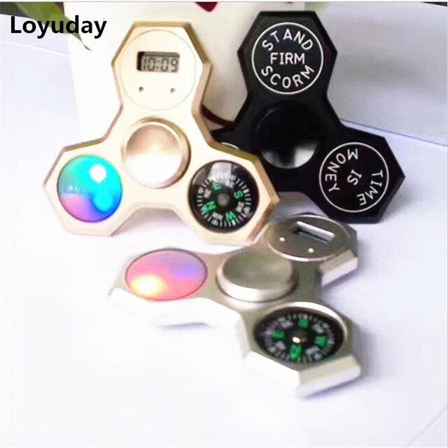 Металлический алюминий светодиодный ручной Spinner компас Непоседа счетчик со временем часы игрушка для аутизм СДВГ рельеф фокус беспокойство стресс подарок игрушки