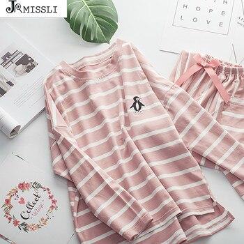 979527ad JRMISSLI pijama rayado manga larga ropa de dormir otoño Mujer dos piezas  Top y pantalones de chándal Conjunto de pijama