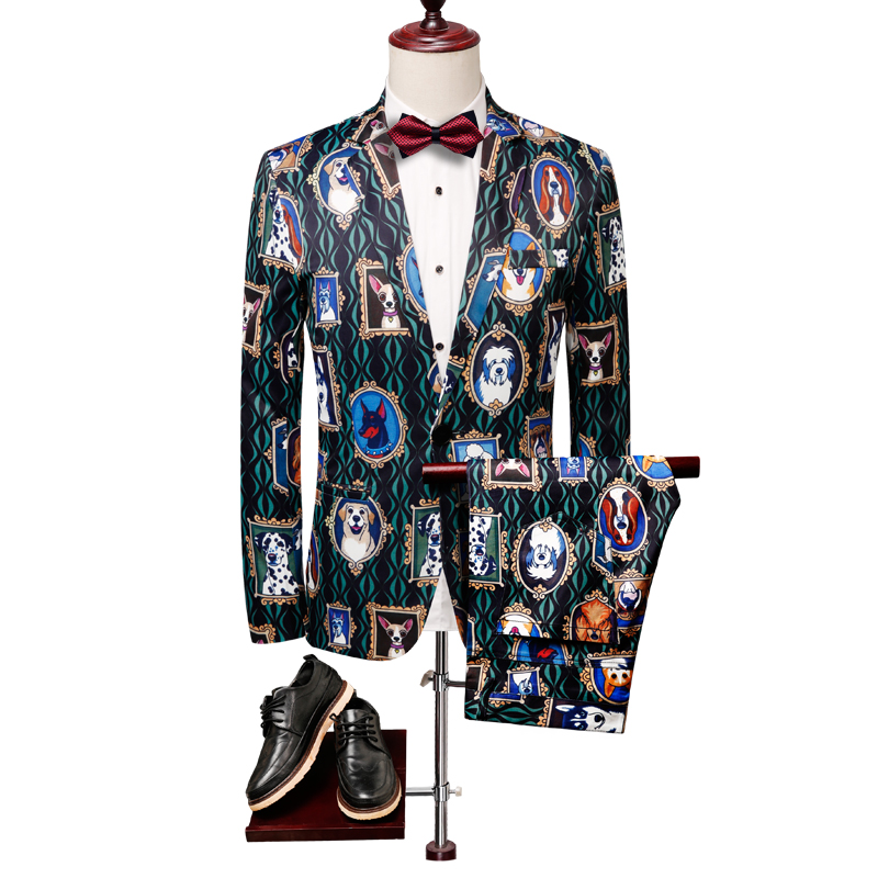 Blazer Men Clothing Casual Suit Jacket Stage DJ Singer Homme Costumes 3D Animal Print Dogs Design Men's Casual Blazers Plus Size