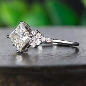 Image 4 - Kuololit 14K 585 białe złoto Moissanite pierścionki dla kobiet Lab Grown Square Cut Gorgeous diamentowe wesele elegancka biżuteria zaręczynowa