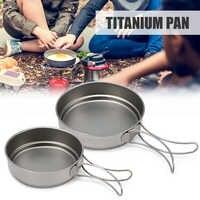 Lixada 350 ml/500 ml titane Camping ustensiles de cuisine poêle à frire en plein air Camping Pot en plein air vaisselle touristique avec poignée pliable