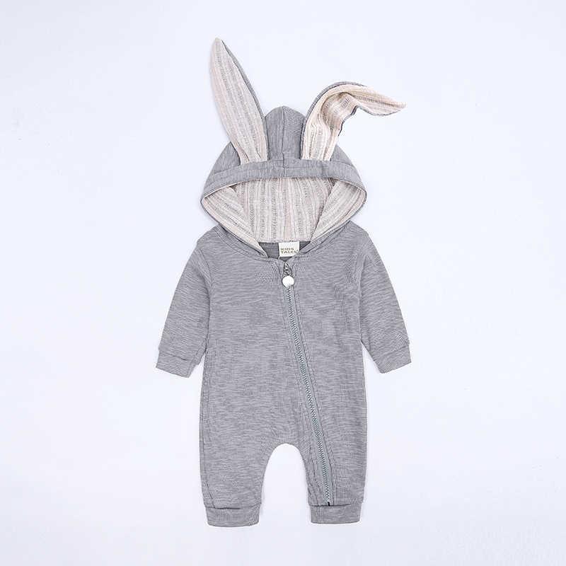 Милые детские комбинезоны с капюшоном и заячьими ушками для маленьких мальчиков и девочек Одежда для новорожденных комбинезон костюм для младенцев комплекты для малышей SR385