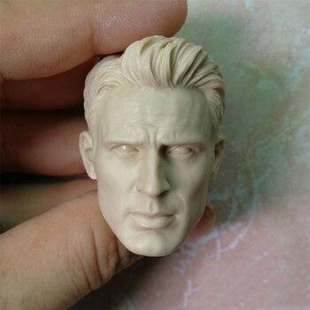 цена на 1/6 Scale Captain Unpainted Head Models Sculpt for 12''Action Figures Bodies Toys Collections