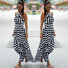 CUERLY New Fashion Women Sexy Boho Striped Dress Summer Maxi Long Sleeveless Beach Strap Sundress For Female