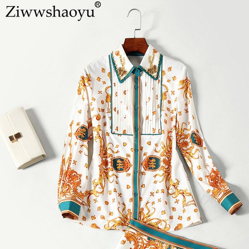 Imprimer Hanche pièce S T Ziwwshaoyu Vintage 2018 shirt Sac Costume Nouveau Mi Collar down Multi longueur pièce Automne Deux Turn Deux rYwBYqUnO