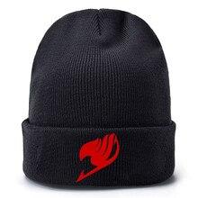 Fairy Tale Anime Red Printed Baseball Caps Kpop Knitted Winter Warm Hats Men Women Boys Girls Elastic Black