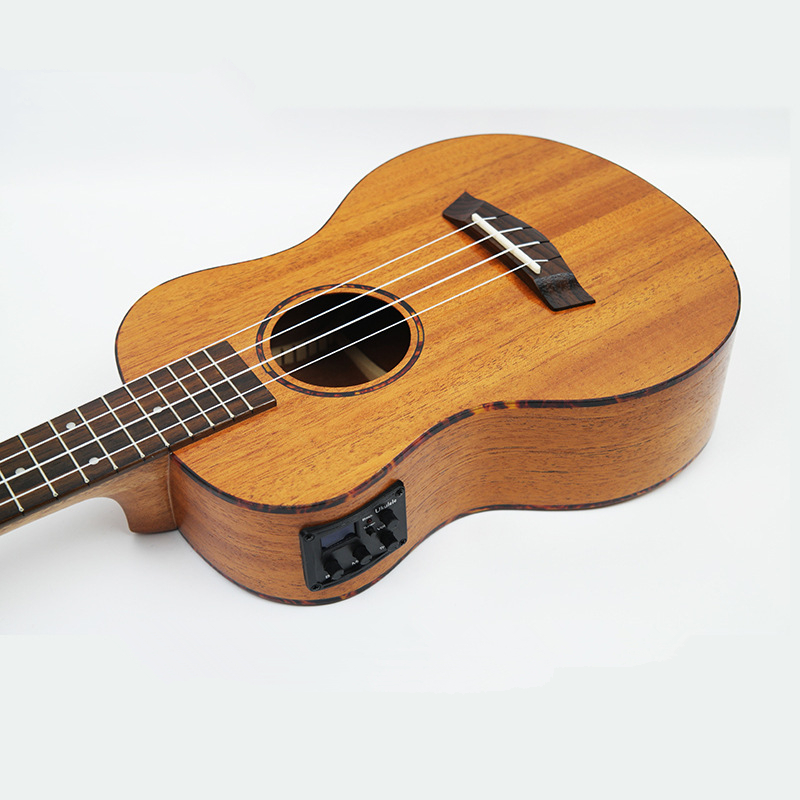 Electric Ukulele Acoustic Solid Top Only 4Strings Guitar OX Bone Nut Mahogany Body Red Tortoise Shell Celluloid Binding Ukelele зажигалка zippo diamond plate satin chrome латунь с ник хром покрыт сереб матовая 36х56х12мм