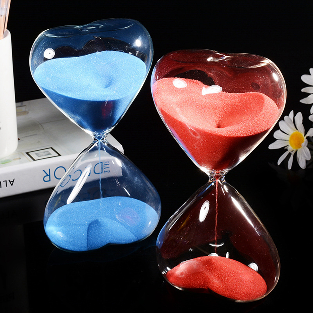 15 Minutes Heart-shaped Crystal Transparent Hourglass Sandglass Glass Sand Timer Clock Home Decor Wedding Decoration Gifts