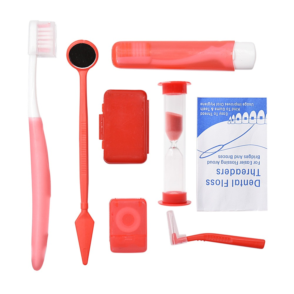 8pcs/set Oral Care Travel Kit Interdental Brush Portable Orthodontic Toothbrush Set Dental Mirror Tooth Wax Dental Floss image