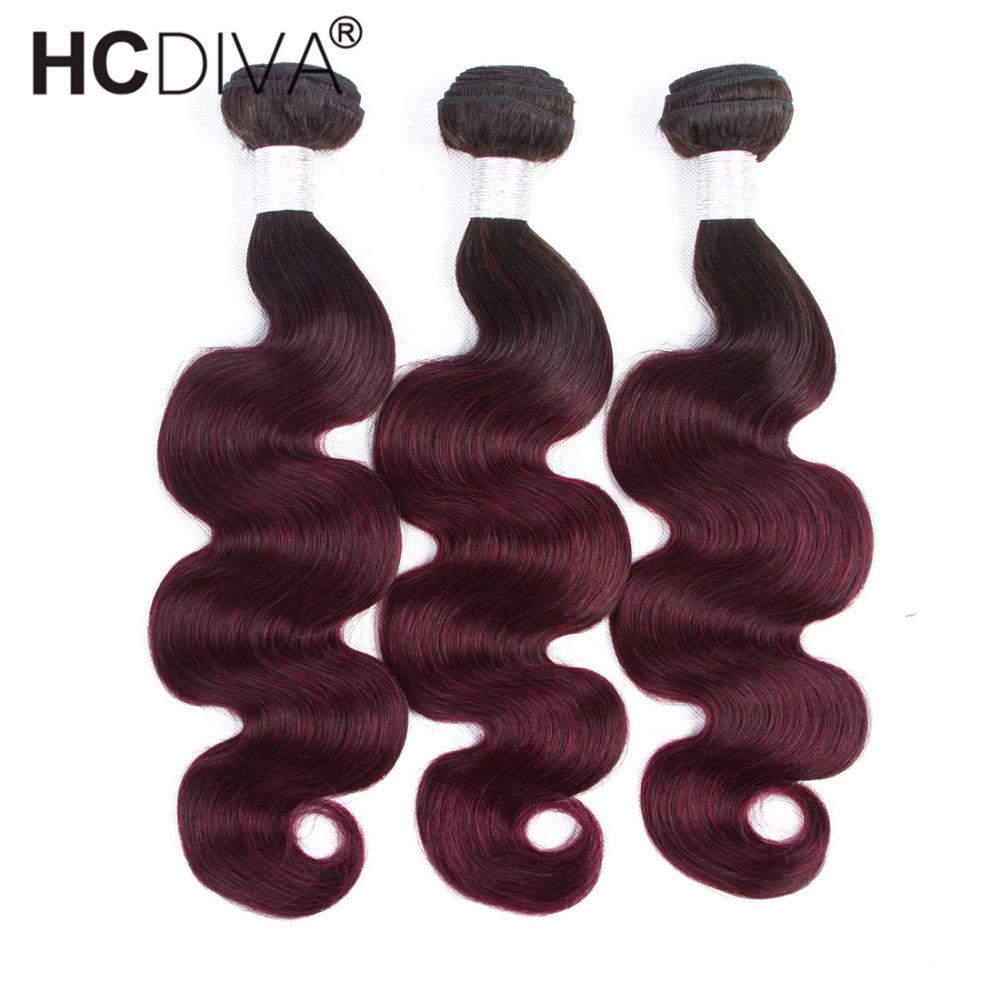 Pre-colored Brazilian Body Wave Ombre Human Hair Weave 3 Bundles Deals 1b 99j Burgundy R ...