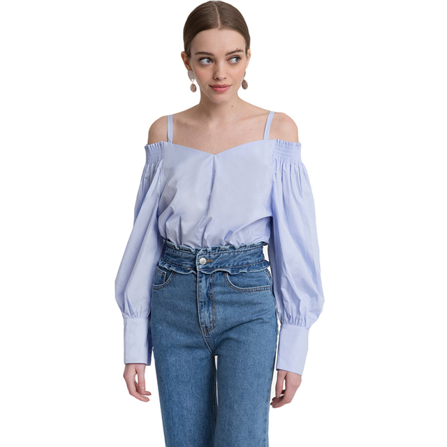 9cd8a7b4f8ef50 Blue long sleeve strappy off the shoulder blouses women ladies sexy OL  formal loose lattern sleeve pleated cold shoulder shirts