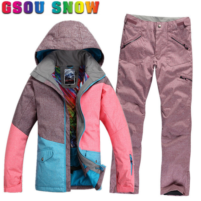 Waterproof Ladies Snowboard Winter Pants Us260 Sets Women Jacket Snow 0gsou Women's Suit Skiing Outdoor In Ski Brand TKc1J3uFl