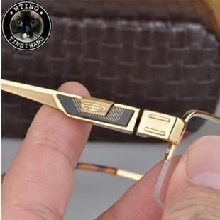 Original brand genuine plated 18k gold eyewear pure titanium eyeglasses half frame myopia top grade glasses man - A-Zed Luxury Eyeglasses store