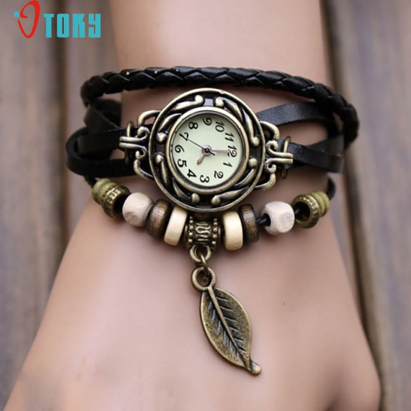 Excellent Quality OTOKY Fashion Women Bracelet Watch Quartz Gift Watch Wristwatch Women Dress Leather Casual Bracelet Watches