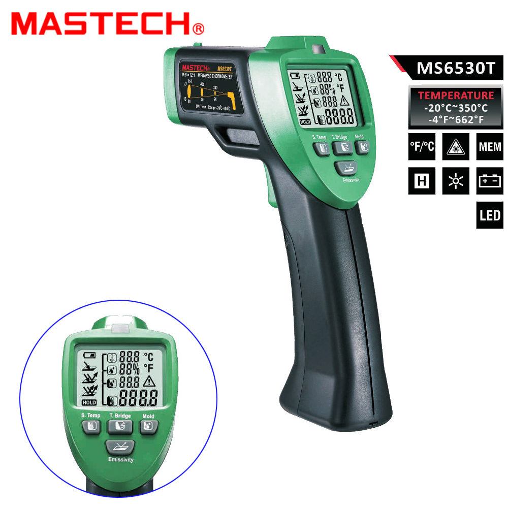 цены MASTECH MS6530T 12:1 Digital Non-contact Infrared Thermometer Tester IR Laser Temperature Gun Meter Thermostat -20C~350C +/-1.5%