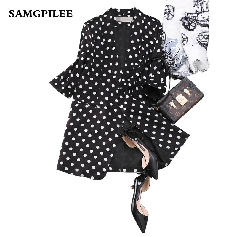 2019 New   Three Quarter Sleeve Polka Dot Single Button Notched Appliques Casual Fashion Women Blazers L-4xl