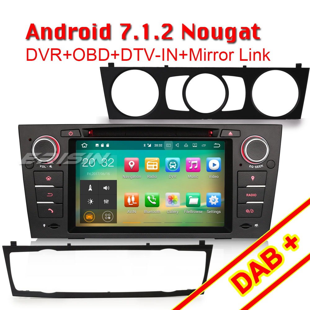 erisin es3767b 7 android 7 1 car audio gps system for e90. Black Bedroom Furniture Sets. Home Design Ideas