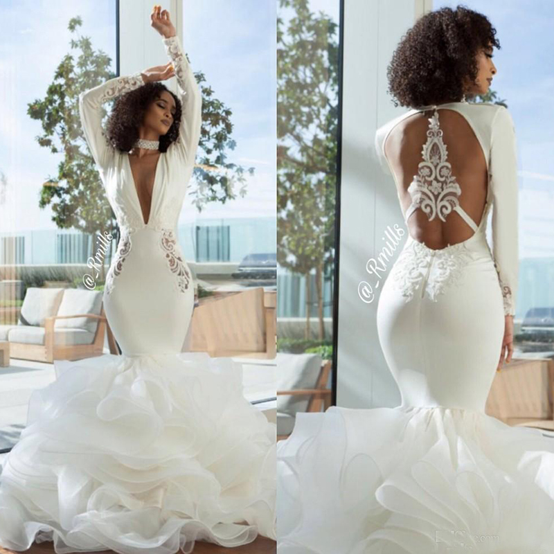 2019 Arabic Long Sleeves Mermaid Wedding Dresses Deep V Neck Sexy Hollow Back Long Bridal Gowns Lace Satin Beach Wedding Gowns