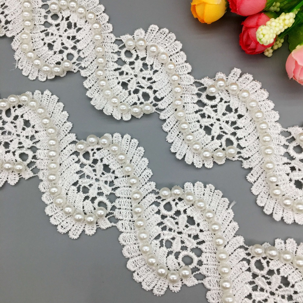 5X Vintage Centipedes Pearl Beaded Lace Trim Ribbon Fabric Embroidered Applique Patchwork Handmade DIY Wedding Sewing Craft