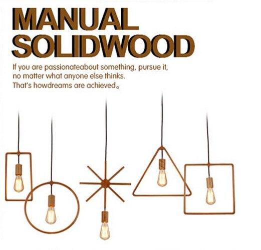 American Loft Style Edison Pendant Light Fixtures Simple Modern Wood Art Droplight Indoor Lighting For Dining Room Hanging Lamp
