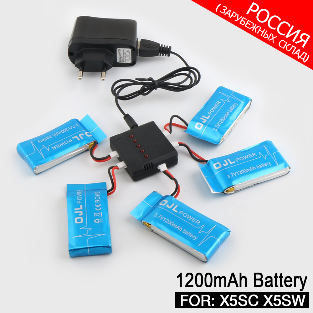 Syma X5SW X5SC RC Drone RC Quadcopter Parts Ultra-high Capacity 3.7V 1200mAh Lipo Battery and 5in1 Cable and Charger
