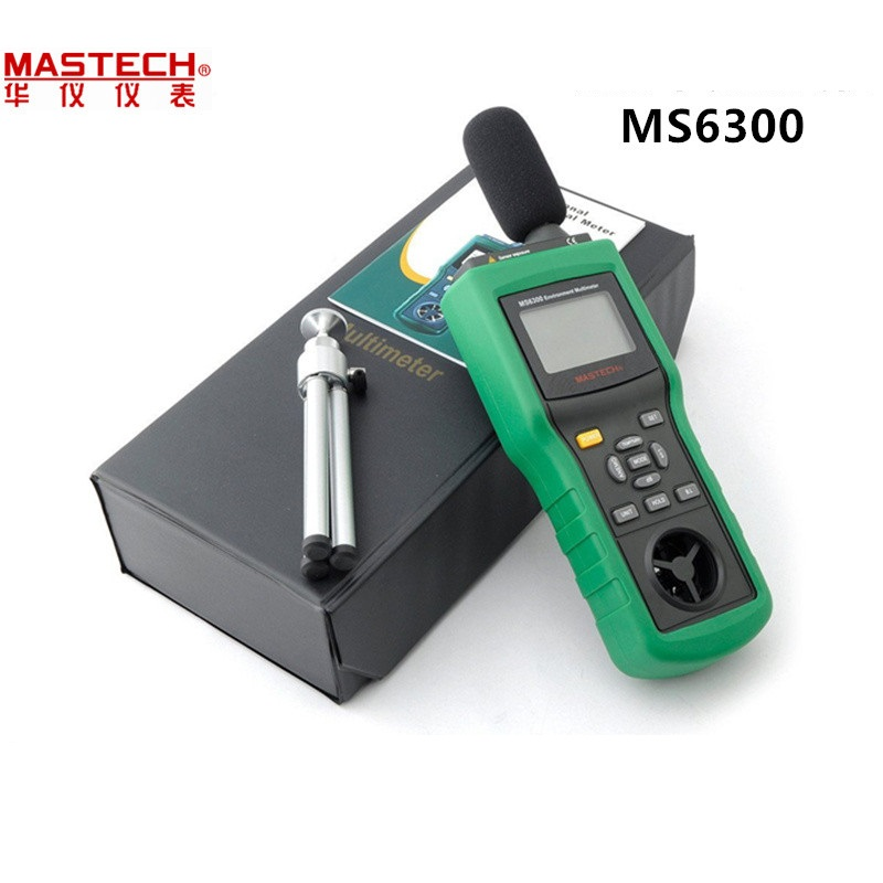 Mastech MS6300 Digital Multifunction Environment Meter Temperature Humidity Sound Air Flow Tester luminometer Anemometer mastech ms6252b digital anemometer air volume ambient temperature humidity with usb temperature and humidity display