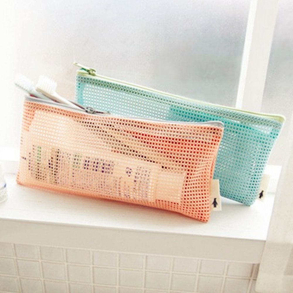 Small Mini Women Mesh Cosmetic Bag Toothbrush Pencil Lipstick Makeup Make Up Organizer Bag Light Clutch Case