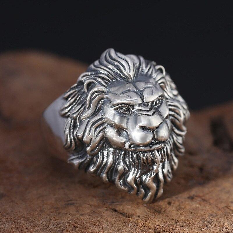925 argent sterling bijoux de mode hommes personnalité anneaux vintage Thai argent lion tête réglable anneau - 2