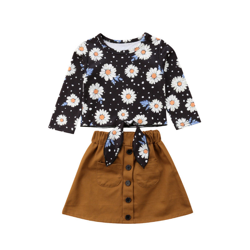 купить New Toddler Girl Clothes Autumn Long Sleeve Tie Front Daisy Shirt Tops Button Skirt Outfit Vetement Enfant Fille 1-6Years в интернет-магазине