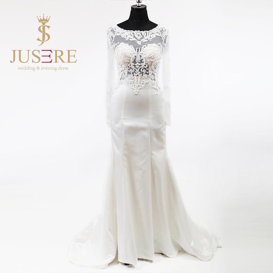 b81fa92f41292 Illusion Scoop Neck Bodice Appliques Beading Long Sleeves Empire Waist  Zipper up Soft Satin Skirt Slight Wedding Dress 2018