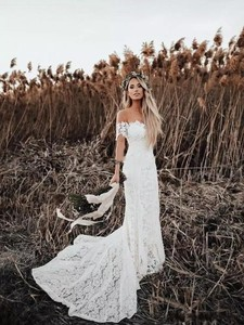 Image 1 - Full Lace Wedding Dress Portrait Mermaid Bridal Gowns 2019 New Custom Made Beach Vestidos De Novia Elegant