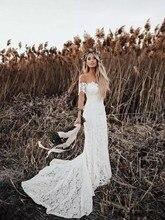 ลูกไม้ชุดแต่งงานภาพ Mermaid ชุดเจ้าสาว 2019 ใหม่ที่กำหนดเอง Beach Vestidos De Novia Elegant