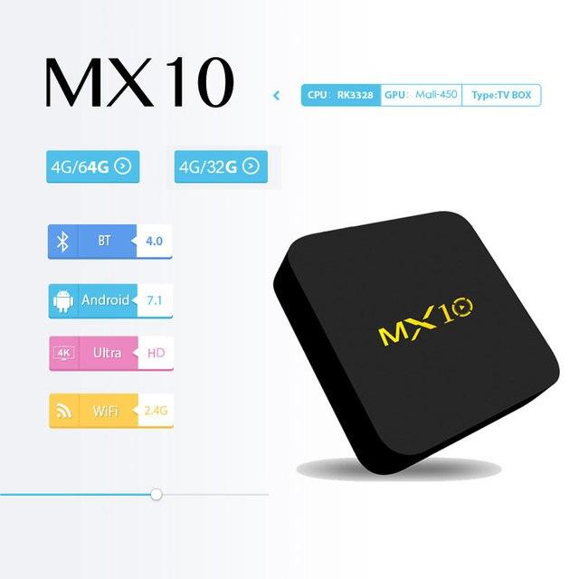 MX10 Smart ТВ Box Android 9,0 RK3328 4 ядра 64bit DDR4 4 ГБ 32 ГБ 4 K HD Wifi 100 M LAN USB3.0 телеприставки медиаплеера 1