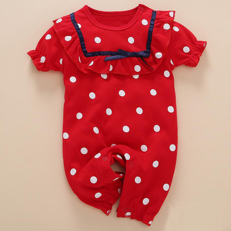 2017 New Baby Girls Cute Square Collar Rompers Toddler 100% Cotton Short Sleeve Overalls Infant Dots Jumpsuit Summer Clothing summer cotton baby rompers infant toddler jumpsuit lace collar short sleeve baby girl clothing newborn overall clothes